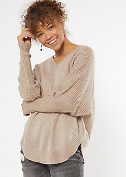 Taupe Heathered Oversize V Neck Scoop Hem Sweater