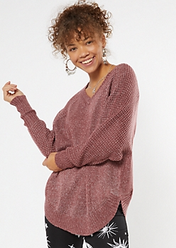 Purple Heathered Oversize V Neck Scoop Hem Sweater
