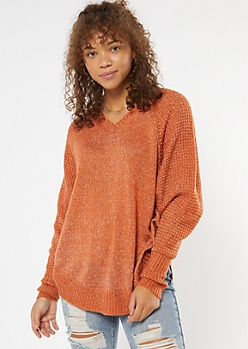 Burnt Orange Heathered Oversize V Neck Scoop Hem Sweater