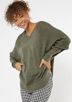 Olive Heathered Oversize V Neck Scoop Hem Sweater