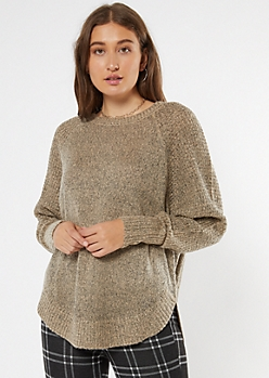 Oatmeal Heathered Oversize Cocoon Sweater