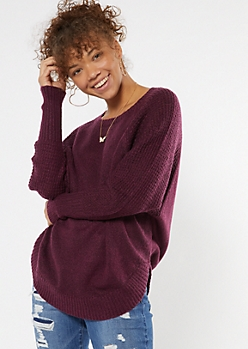 Plum Heathered Oversize Scoop Hem Sweater