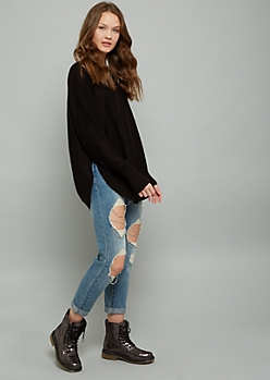 Black Oversized Side Slit Sweater