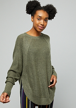 Olive Oversized Side Slit Sweater