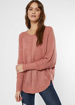 Pink Marled Dolman Sweater