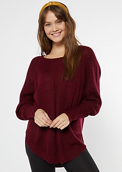 Burgundy Marled Dolman Sweater