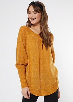Mustard Marled Dolman Sweater