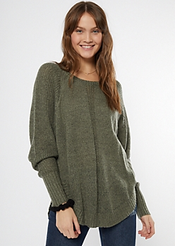Olive Marled Dolman Sweater