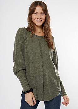 Olive Marled Dolman Sweater