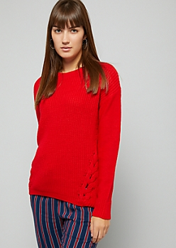 Red Lace Up Side Sweater