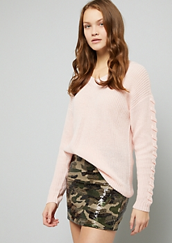 Pink V Neck Lace Up Sleeve Sweater