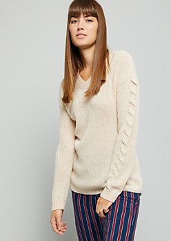 Oatmeal V Neck Lace Up Sleeve Sweater