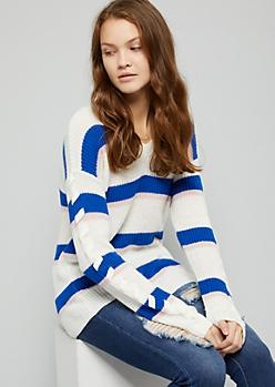 Blue Striped V Neck Lace Up Sleeve Sweater