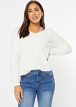 White Cutout Eyelash Knit Teddy Sweater