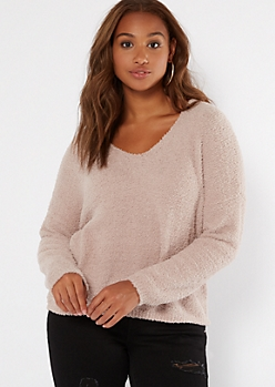 Sand Cutout Eyelash Knit Teddy Sweater