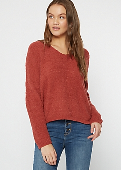 Medium Red Cutout Eyelash Knit Teddy Sweater