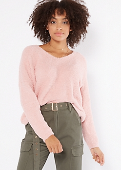 Pink Cutout Eyelash Knit Teddy Sweater