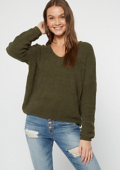 Olive Cutout Eyelash Knit Teddy Sweater