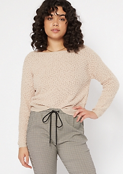 Taupe Slouchy Textured Knit Sweater