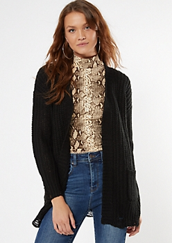 Black Distressed Open Front Cardigan