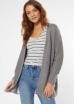 Gray Distressed Open Front Cardigan