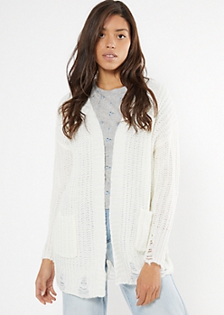 Ivory Distressed Open Front Cardigan
