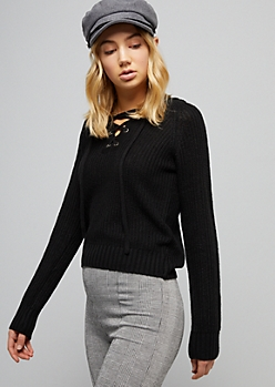 Black Ribbed Knit Lace Up Hooded Skimmer Sweater