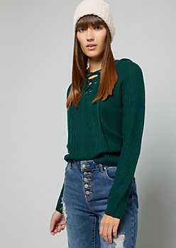 Green Ribbed Knit Lace Up Hooded Skimmer Sweater