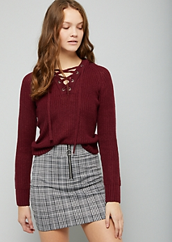 Burgundy Ribbed Knit Lace Up Hooded Skimmer Sweater