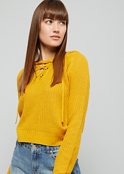 Mustard Ribbed Knit Lace Up Hooded Skimmer Sweater