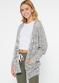 Black Marled Oversize Pocket Cardigan