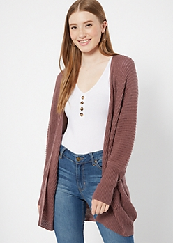 Purple Pocket Cocoon Cardigan