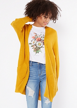Mustard Yellow Pocket Cocoon Cardigan