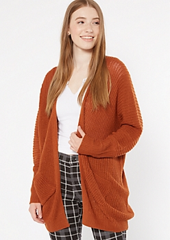 Burnt Orange Pocket Cocoon Cardigan
