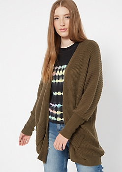 Olive Pocket Cocoon Cardigan