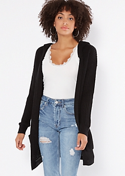 Black Lace Up Back Hooded Shawl Cardigan