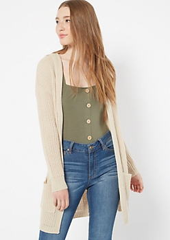 Heathered Oatmeal Lace Up Back Hooded Shawl Cardigan