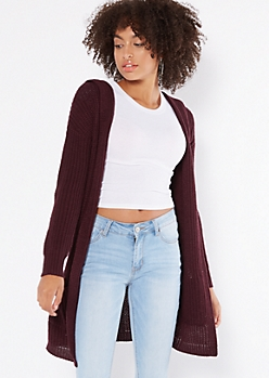 Purple Lace Up Back Hooded Shawl Cardigan