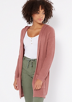 Pink Lace Up Back Hooded Shawl Cardigan