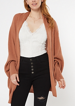 Burnt Orange Oversized Dolman Sleeve Cardigan