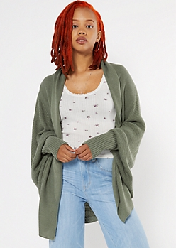 Olive Oversized Dolman Sleeve Cardigan