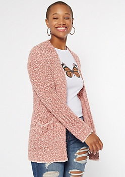 Coral Orange Boucle Open Front Cardigan