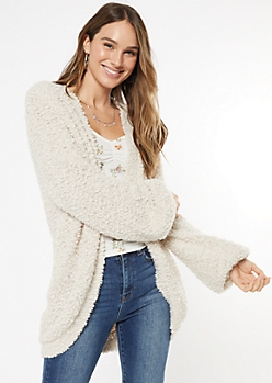 Cream Fuzzy Bubble Sleeve Cardigan