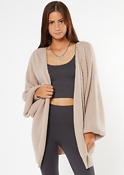 Tan Soft Open Front Bubble Sleeve Cardigan
