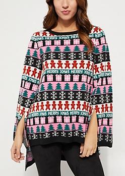 Merry Christmas Split Sleeve Tunic Sweater