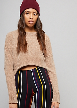 Taupe Chenille Cropped Sweater