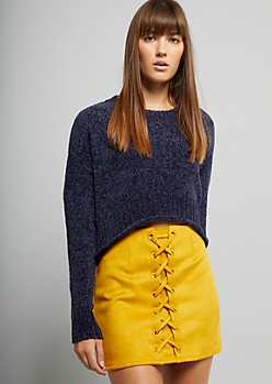 Blue Chenille Cropped Sweater