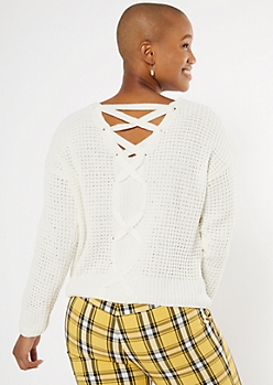 Ivory Chenille Lace Up Back Sweater