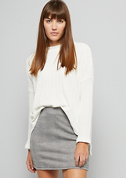 White Ribbed Chenille High Low Sweater