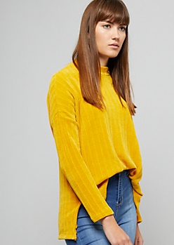 Mustard Ribbed Chenille High Low Sweater